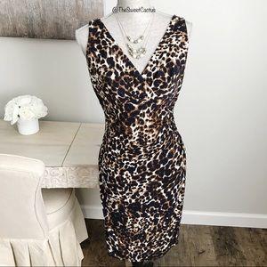 LRL Animal Print Faux Wrap Sheath Dress
